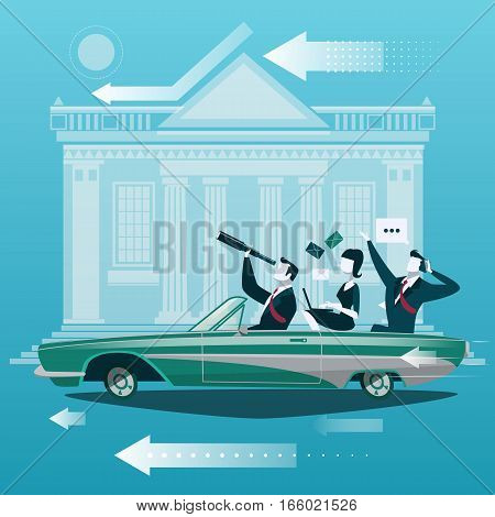 Group of businessman travel by car with stock market exchange building on background. Business concept vector illustration in cartoon style.