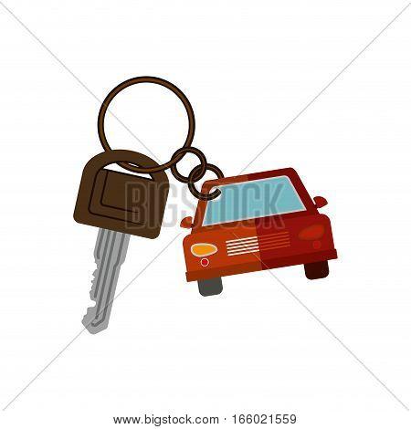 car shaped key chain icon vector illustration