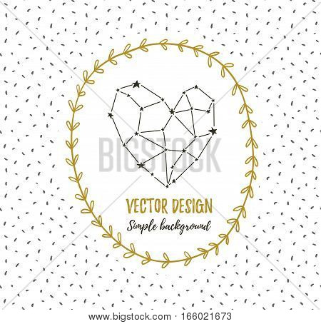 Starlit heart in the wreath. Vector background for valentine's card, love poster and wedding, greeting invitation cards. Constellation in the form of heart.