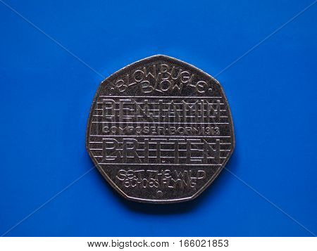 Twenty Pence Coin, United Kingdom Over Blue