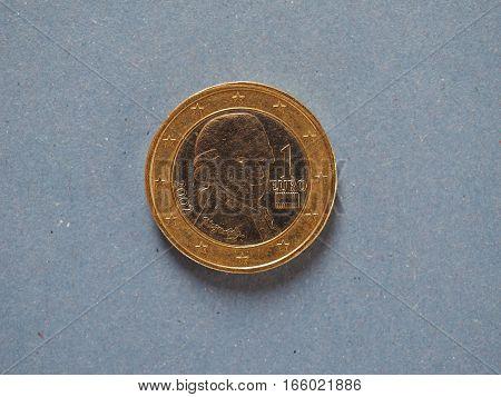 1 Euro Coin, European Union, Austria Over Blue