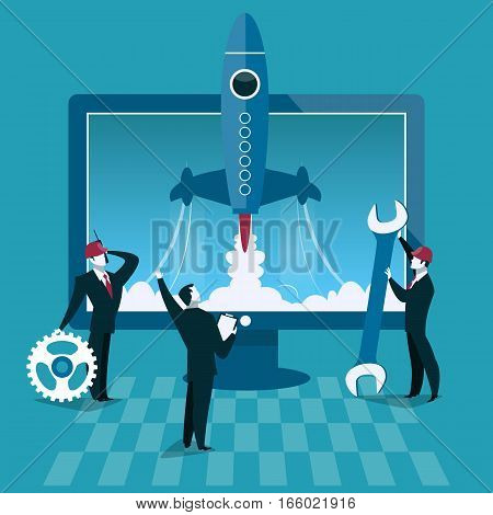 Business start up concept vector illustration. Rocket launch and computer on background. Businessman start new company.