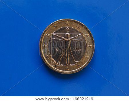 1 Euro Coin, European Union, Italy Over Blue