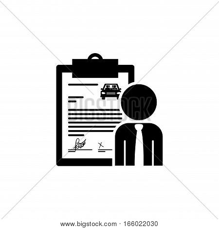 black silhouette car contract and salesman vector illustration