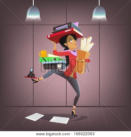 Vector female business character in cartoon style. Busy multitasking office manager. Company secretary or boss personal assistant.