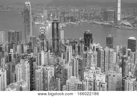 Black and White Hong Kong city night view from the Peak point of view