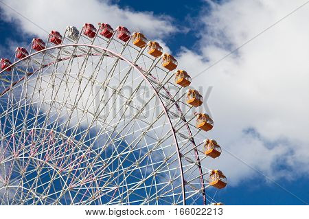 Path of Observation Ferris Wheel close up with blue sky background