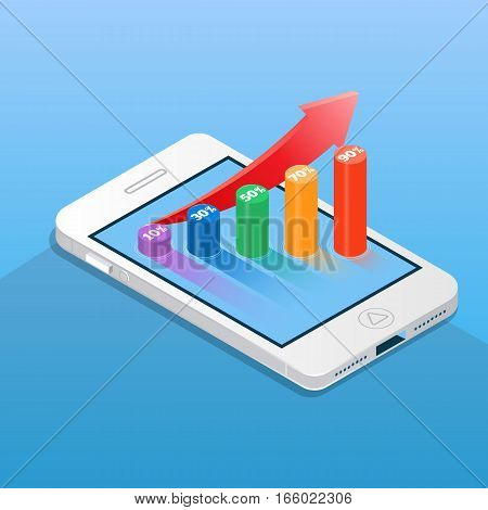 Smartphone with financial bar chart. Business and finance concept vector illustration in isometric style.