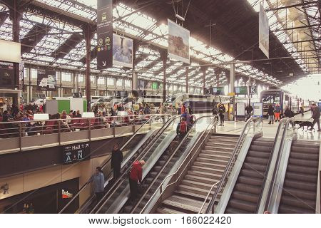 PARIS FRANCE - APRIL 14 2015: Interior of Gare de Lyon - Paris France. The station is served by high-speed TGV trains to south and eastern France Switzerland Germany Italy and Spain. Travel concept.
