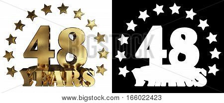 Golden digit forty eight and the word of the year decorated with stars. 3D illustration