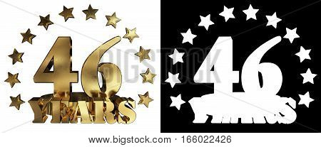 Golden digit forty six and the word of the year decorated with stars. 3D illustration