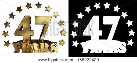 Golden digit forty seven and the word of the year decorated with stars. 3D illustration
