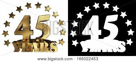 Golden digit forty five and the word of the year decorated with stars. 3D illustration