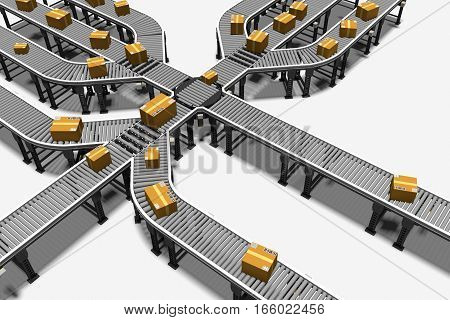 conveyors transporting parcels in a distribution warehouse