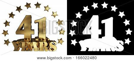 Golden digit forty one and the word of the year decorated with stars. 3D illustration