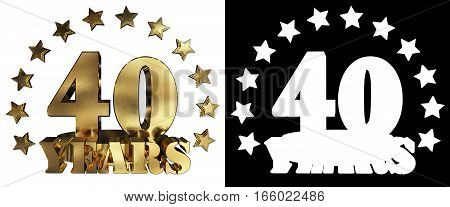 Golden digit forty and the word of the year decorated with stars. 3D illustration