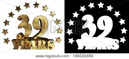 Golden digit thirty nine and the word of the year decorated with stars. 3D illustration