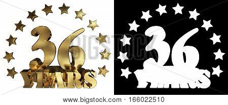 Golden digit thirty six and the word of the year decorated with stars. 3D illustration