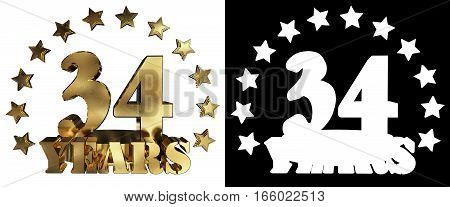 Golden digit thirty four and the word of the year decorated with stars. 3D illustration