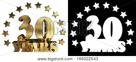 Golden digit thirty and the word of the year decorated with stars. 3D illustration