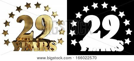 Golden digit twenty nine and the word of the year decorated with stars. 3D illustration