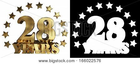 Golden digit twenty eight and the word of the year decorated with stars. 3D illustration