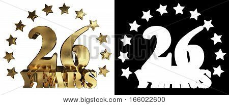 Golden digit twenty six and the word of the year decorated with stars. 3D illustration