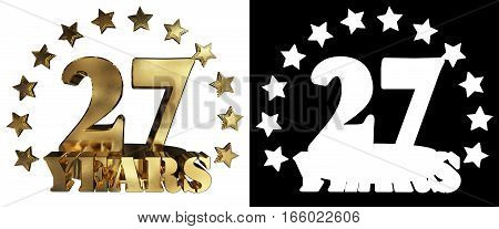 Golden digit twenty seven and the word of the year decorated with stars. 3D illustration