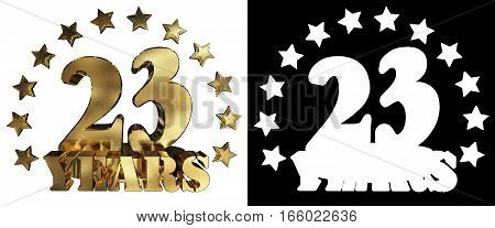 Golden digit twenty three and the word of the year decorated with stars. 3D illustration