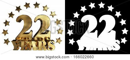 Golden digit twenty two and the word of the year decorated with stars. 3D illustration