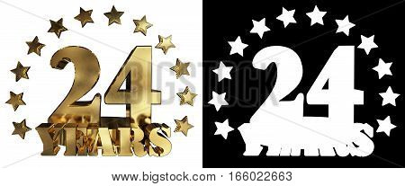 Golden digit twenty four and the word of the year decorated with stars. 3D illustration