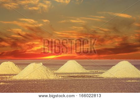 sunset in the Salt Lakes of Bolivia South America
