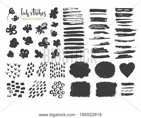 Set of hand drawn stylish strokes and textures. Vector collection of painted ink textures and objects for backdrop.