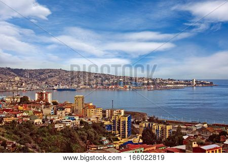 Valparaiso Chile aerial view of town and habour