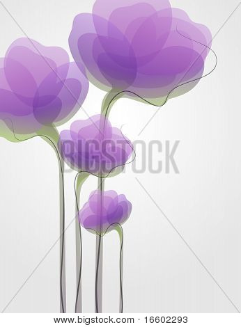 Purple flowers. Stylish background. Beautiful vector illustration.