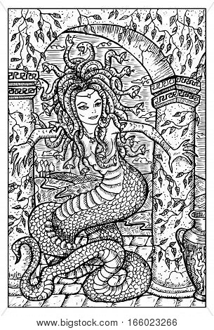 Gorgon, antique myth character. Woman with snake body and hair. Fantasy magic creatures collection. Hand drawn vector illustration. Engraved line art drawing, graphic mythical doodle