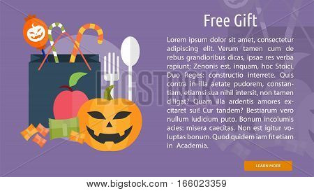 Free Gift Conceptual Banner Great flat design illustration concepts for halloween, holiday, horror, night and much more.