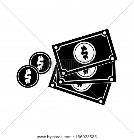 black silhouette multiple bills with coin vector illustration