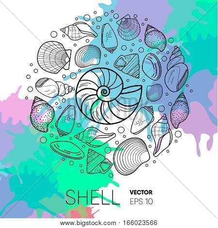 Vector sea shell composition. flat style set of conchs and shellfish for prints, advertisement, poster, banner phone case .paint splash background