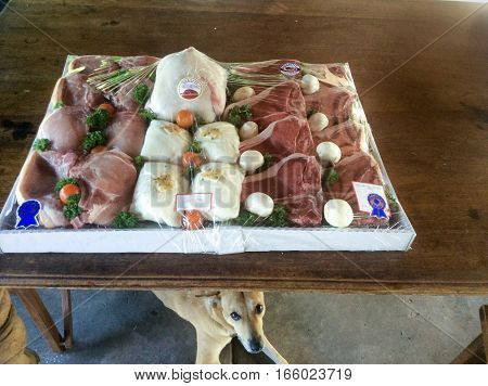 An Australian Dingo Dog hovering near a tray of meat