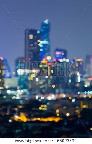 Abstract blurred lights city downtown night view
