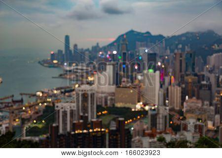 Abstract blurred bokeh city Hong Kong city downtown aerial view