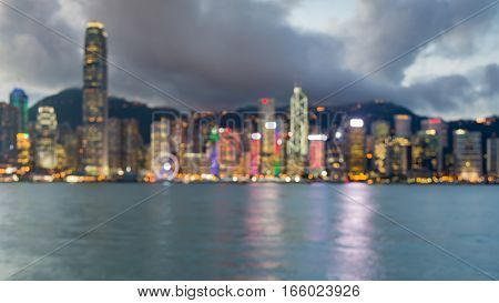 Blurred bokeh lights panorama of Hong Kong city business downtown