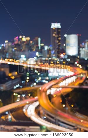 Twilight blurred bokeh city highway intersection night view abstract background