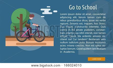 Go To School Conceptual Banner | Great flat illustration concept icon and use for education, science, learning, reading and much more.