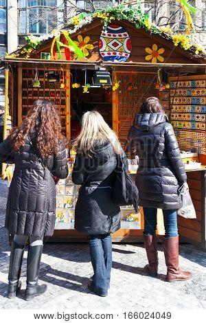 CZECH REPUBLIC PRAGUE - MARCH 2016: famous easter market Wenceslas square Prague Czech republic. Traditional celebration of easter holiday in historical center of Prague (UNESCO).