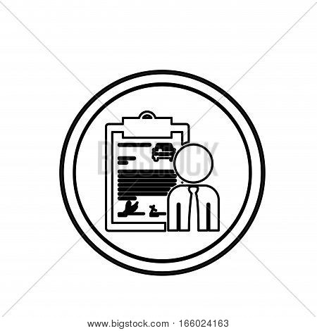 silhouette circular shape car contract and salesman vector illustration