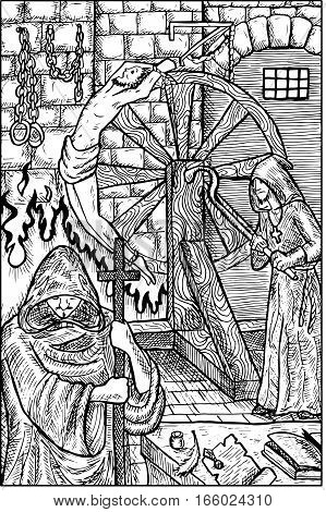 Inquisitor. Medieval inquisition, torturer and victim, old jail. Fantasy magic creatures collection. Hand drawn vector illustration. Engraved line art drawing, graphic mythical doodle
