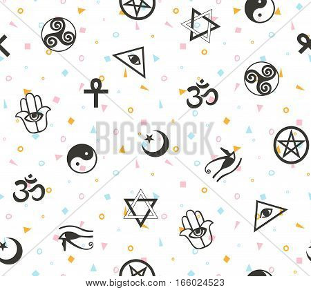 Seamless geometric pattern with ancient sacral symbols. Egyptian hermetic religious and magic symbols. Boho vector background.