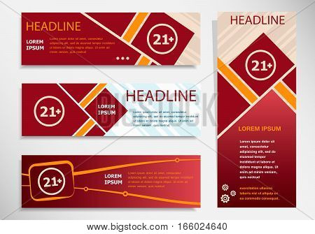 21 Plus Years Old Sign. Adults Content Icon On Vector Website Headers, Business Success Concept